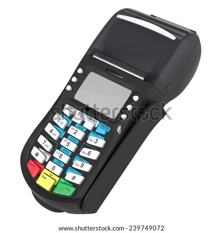 POS terminal. Credit cards. White on background - stock photo