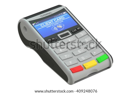 POS-terminal, 3D rendering isolated on white background