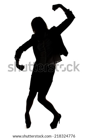 Pose of athlete - silhouette of woman on white background