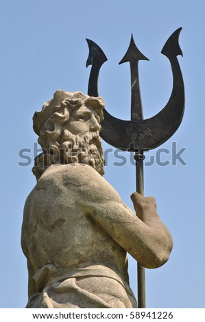 Poseidon with Triton from Atlantis in Barcelona Spain - stock photo