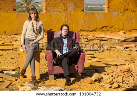 Posh people in crisis, a social concept - stock photo