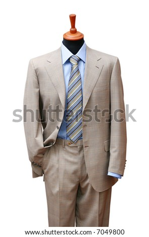 Posh suit on shop mannequin isolated on white - stock photo