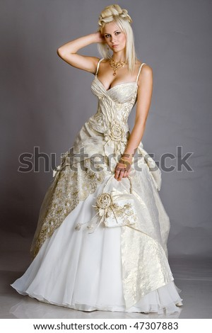 Posing bride - stock photo