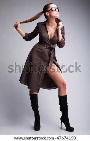 Posing girl - stock photo