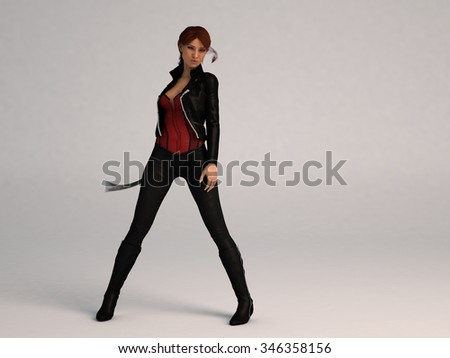 posing girl with sword isolated on white - stock photo