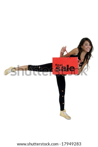 posing smiling lady with shopping bag on white background - stock photo
