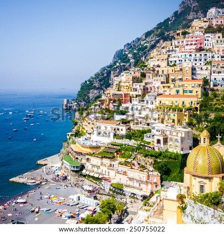 Positano, amazing town on the Amalfi Coast, Naples, Italy - stock photo