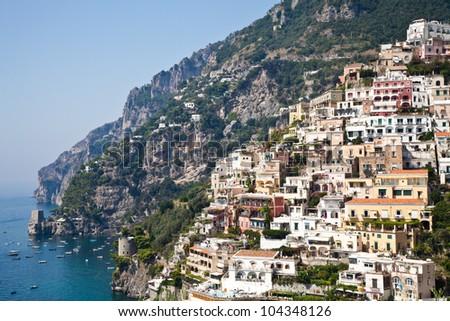 Positano is a village and comune on the Amalfi Coast (Costiera Amalfitana), in Campania, Italy. - stock photo