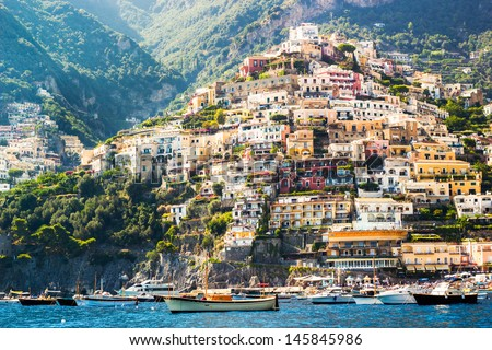 Positano, italy. Amalfi Coast and seascape - stock photo