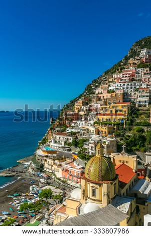 Positano village  comune on the Amalfi Coast (Costiera Amalfitana) Italy. The church of Santa Maria Assunta - stock photo