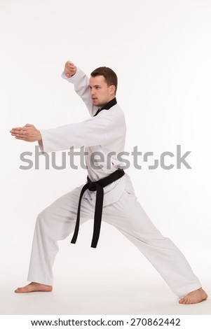 Positions of professional fighter in kimono on white background - stock photo