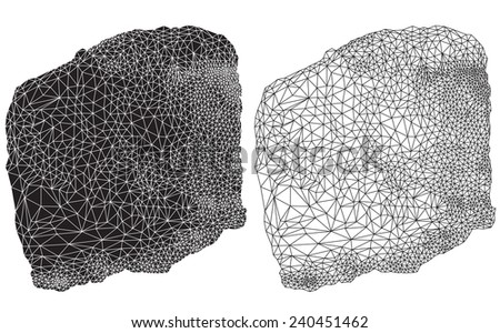 Positive and negative versions of a geometric line drawing - stock photo