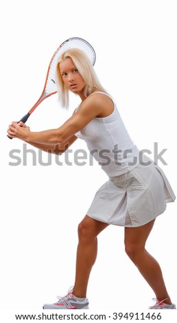 Positive blond female tennis player in a white dress. - stock photo