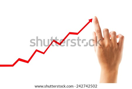 Positive business chart - female finger showing growth - stock photo