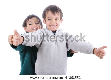 Positive child isolated, laughing and gesturing - stock photo