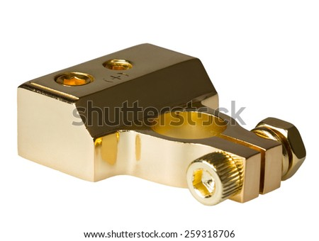Positive contact terminal CAR battery isolated on a white background. - stock photo