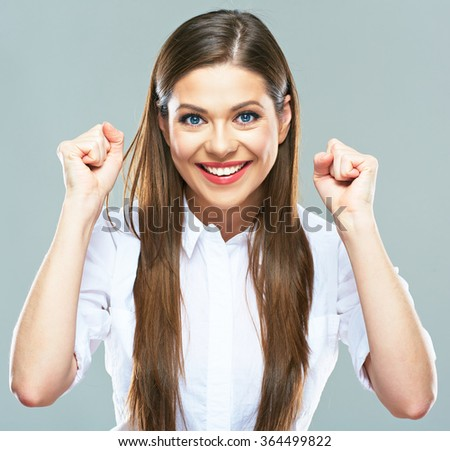 Positive emotional portrait of young successful business woman. Isolated portrait. winner gesture. - stock photo