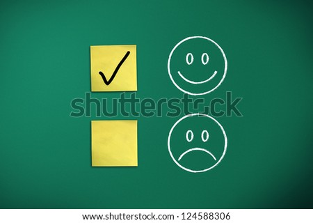 positive feedback rapresentated by emoticons on green chalk board - stock photo