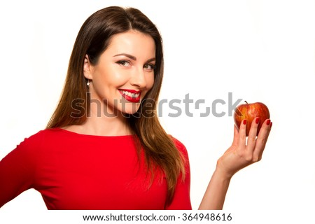 Positive Female Biting a Big Red Apple Fruit Smiling on White Smiling - stock photo