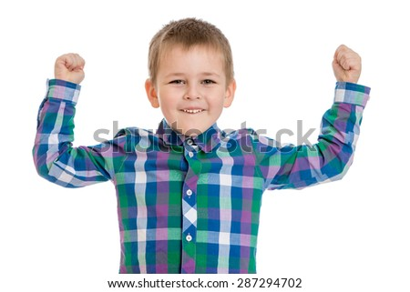 Positive little boy in a plaid shirt raised his hands up , close-up-Isolated on white background - stock photo