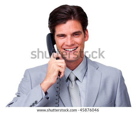 Positive male executive on phone isolated on a white background