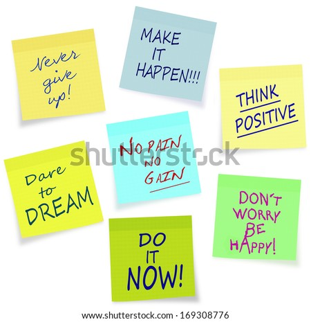 Positive motivation messages on sticky notes, easily removable from background - stock photo