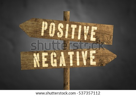 Positive or Negative concept road sign isolated on dark background.