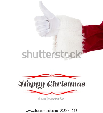 Positive santa claus with thumbs up against border - stock photo