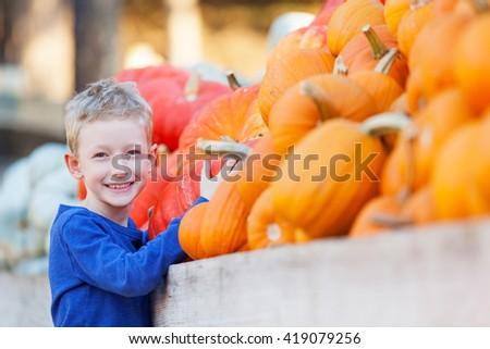 positive smiling boy choosing pumpkin and enjoying pumpkin patch - stock photo