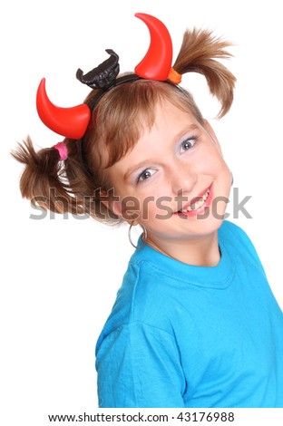 Positive smiling girl with a devil head on white background. - stock photo