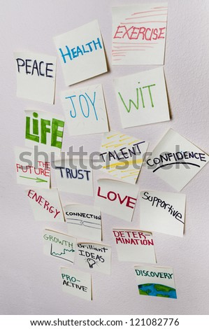 Positive sticky notes - Health, peace, exercise, joy, wit, life, the future, trust, talent, confidence, energy, connection, love, supportive, growth, determination, growth, proactive, discovery. - stock photo