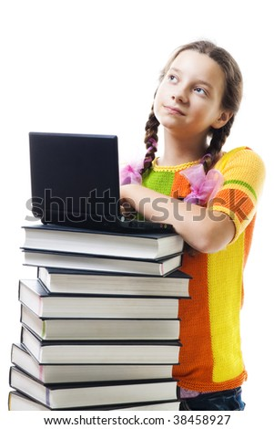 Positive teenager girl with books and laptop, isolated on white - stock photo