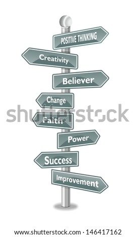 POSITIVE THINKING, as a creative improvement in a word cloud  designed in a US traffic sign - stock photo