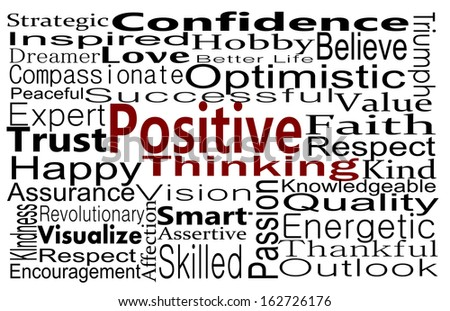 Positive Thinking business concept expressed with word collage - stock photo