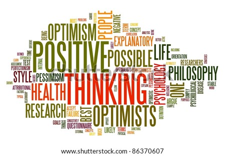 Positive thinking concept in word tag cloud isolated on white - stock photo