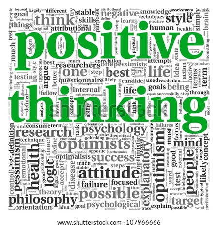 Positive thinking concept in word tag cloud on white background - stock photo