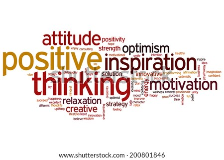Positive thinking concept word cloud background - stock photo
