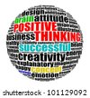 Positive thinking info text graphic and arrangement concept. - stock photo