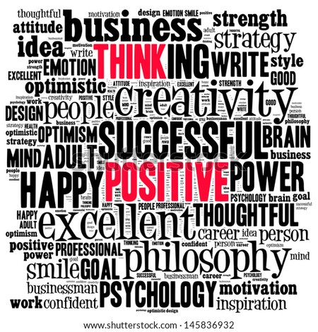 Positive thinking info-text graphics and arrangement concept (word cloud) - stock photo