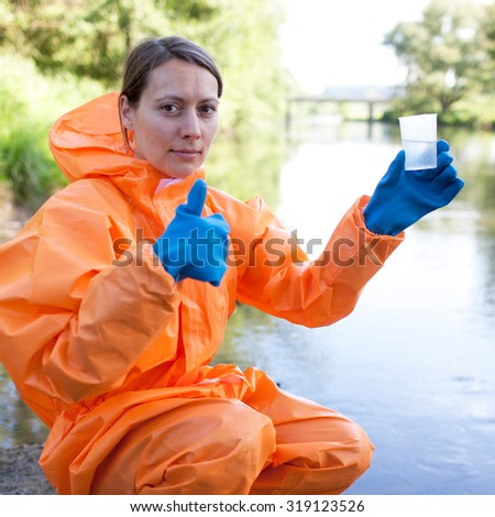 Positive water sampling and analysis outside - stock photo