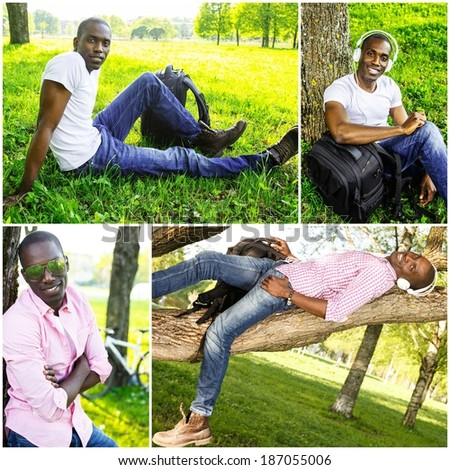 Positive young african american man in a park collage - stock photo