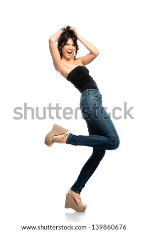 Positive young brunette woman having fun isolated on white background - stock photo