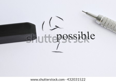 Possible Concept. Changing The Word Impossible to Possible. Deleting word im to Possible.