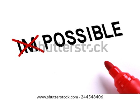 Possible concept with red marker on white background. - stock photo