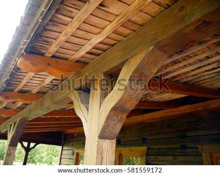 Post Beam Roof Support Frame Detail Stock Photo (Download Now ...