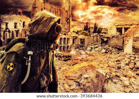 Post apocalypse sole survivor - stock photo