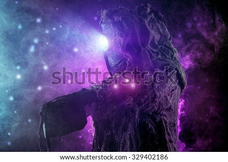 Post-apocalyptic futuristic character. Fantasy. Steampunk.  - stock photo
