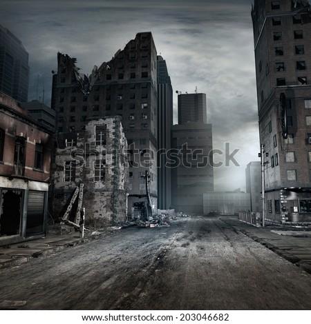 Post apocalyptic scene with a city street - stock photo