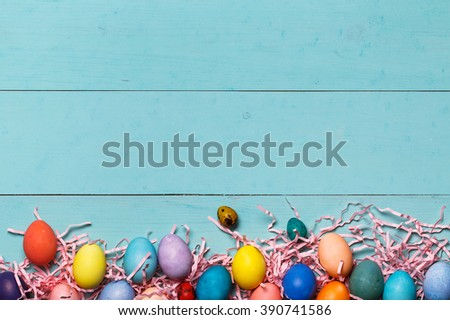 Post blog social media Easter. View from above with copy space. Banner template layout mockup for happy Easter. Lilac wooden table, top view on workplace. Have Yourself Happy Easter.  - stock photo