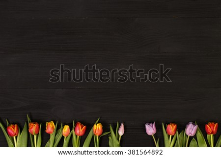 Post blog social media 8 march. View from above with copy space. Banner template layout mockup for woman day. Black wooden table, top view on workplace. - stock photo